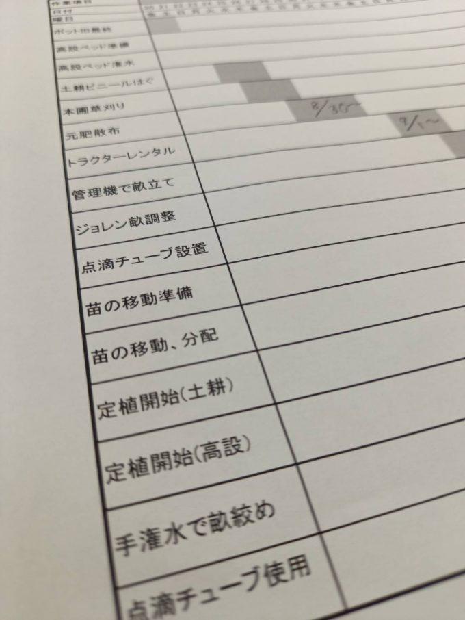 イチゴ定植作業スケジュール